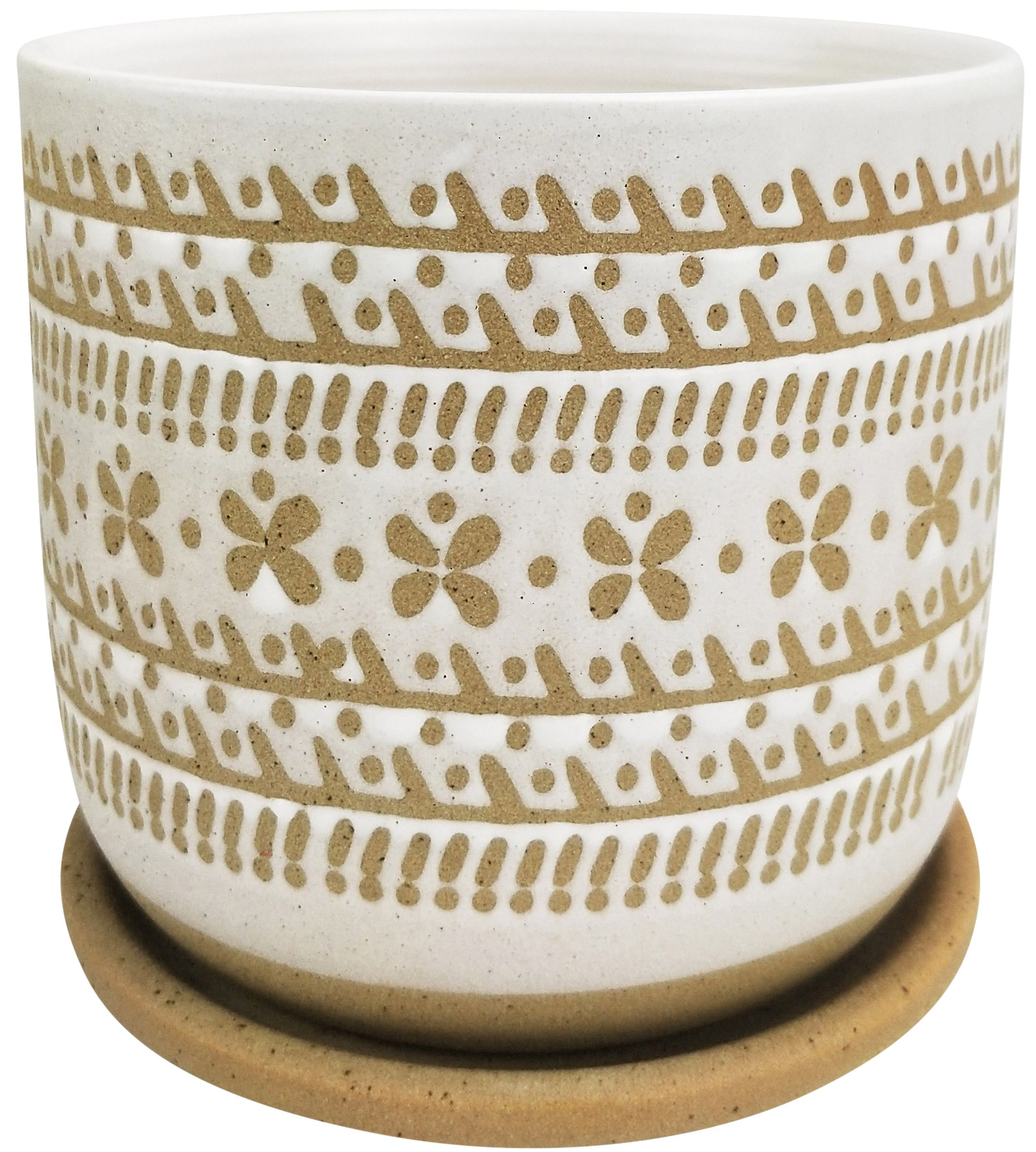 Urban Products River Tribal Planter With Saucer White