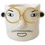 Man with Glasses Planter White & Gold 10