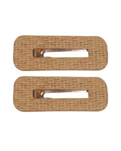 Cane Rectangle Hair Clips Natural