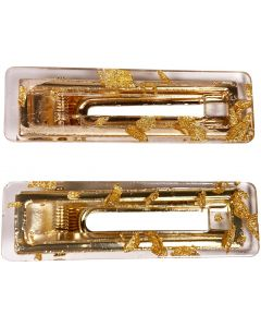 Fleck Square Hair Clip Gold