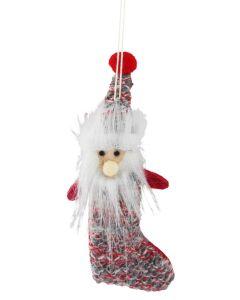 Sale Hanging Santa Stocking RedGrey Knit 11c