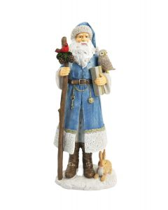 Woodland Santa Standing Decoration Blue