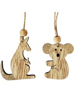 Koala  Kangaroo Hanging Decoration Gold