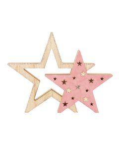 Wooden Star Cutout Decoration Pink 23cm