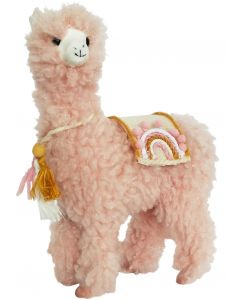 Rainbow Llama Standing Decoration Peach