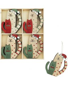 Christmas Cats Hanging Decorations Red 1