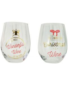 Christmas Quote Wine Glass Pink  Gold