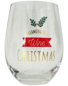 Dreaming of a Wine Christmas Wine Glass