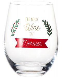 The More Wine the Merrier Wine Glass Red