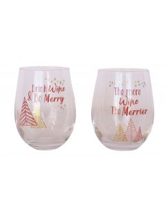 Drink Wine & Be Merry Wine Glass Pink 12
