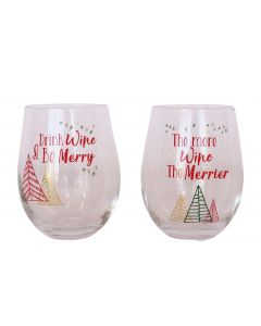 Drink Wine & Be Merry Wine Glass Red & G