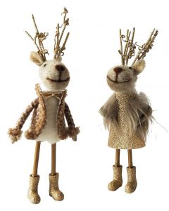 Reindeer Felt Standing Decoration Brown