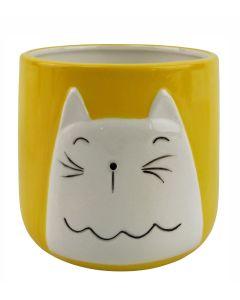 Cute Cat Planter Yellow Sm 12cm