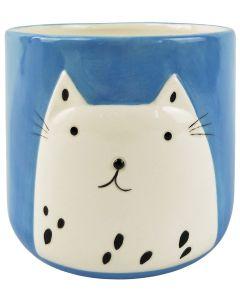 Cute Cat Planter Dark Blue Med 14cm