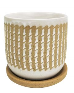 River Knit Planter with Saucer White & M