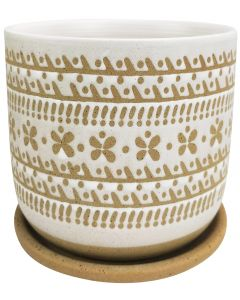 River Tribal Planter with Saucer White &
