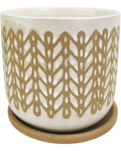 River Stitch Planter with Saucer White &