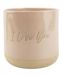 I Love You Planter Pink & Sand 13cm