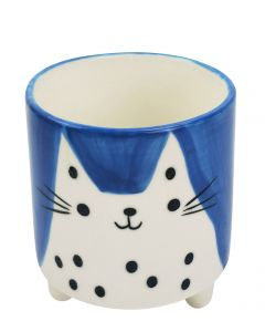 Quirky Cat Planter with Legs Blue & Whit