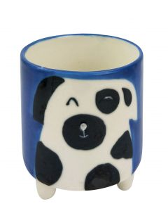 Quirky Dog Planter with Legs Blue & Whit