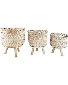 Jada Bamboo Planter with Legs Orange & W