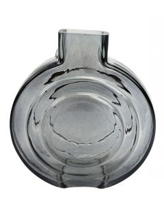 Tommy Round Glass Vase Steel Sm 16.5cm