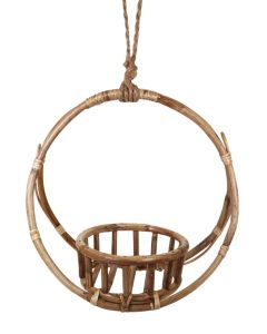 Round Cane Pot Holder Natural Med 32cm
