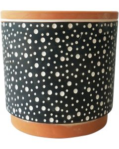 Dotti Planter Terracotta  Black Med 15c