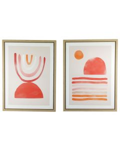 Demi Abstract Wall Art Pink & Red 60cm (