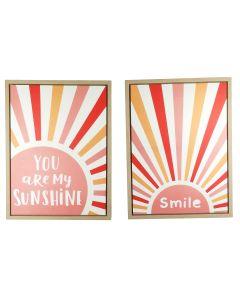 Sunshine Wall Art Pink 60cm (2 Asst)
