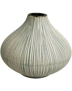 Sale Green Stitch Squat Vase 11cm