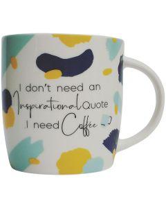 Sale I Need Coffee Mug White & Blue 9cm