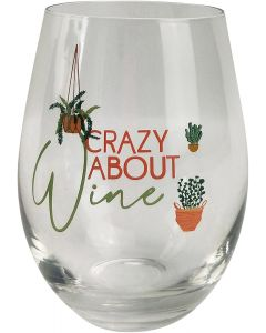 Crazy About Wine Wine Glass Pink & Green