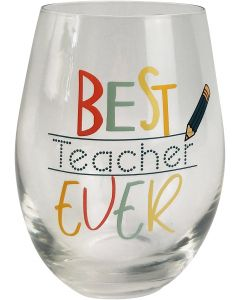 Best Teacher Ever Wine Glass Multicolour