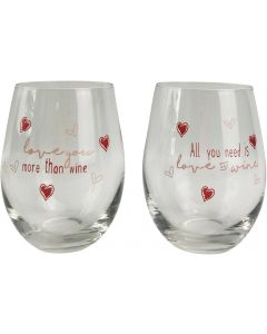 All You Need is Love Wine Glass Pink 12c