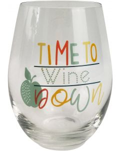 Time to Wine Down Wine Glass Multicolour