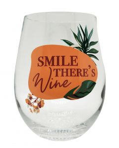 Smile There's Wine Wine Glass Pink & Gre